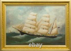 Antique 19th Rare Original canvas Old Oil painting Sailing boat Dated 1891