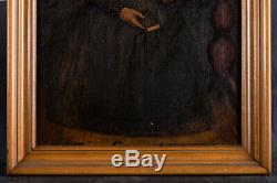 Antique American Folk Art Oil Painting Portrait Of Old Lady