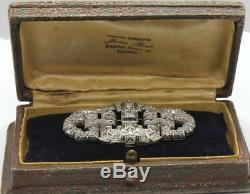 Antique Art Deco Cartier Platinum 2.5 cts Old Euro Diamonds Pin Brooch Signed