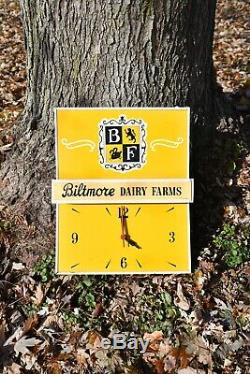 Antique BILTMORE DAIRY FARMS Advertising Clock Very Rare Old Advertising Sign