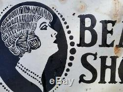 Antique Beauty Shop Sign circa 1920 Enamel old vintage hair salon