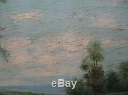 Antique Blue Bonnet Landscape Painting Edwin Signed 19th 20th Century Oil Old