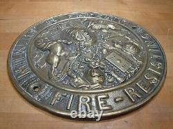 Antique Brass MILNERS PATENT FIRE-RESISTING SAFE Sign Plaque High Relief Ornate