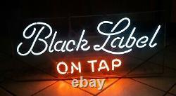 Antique CARLING BREWING COMPANY BLACK LABEL ON TAP NEON BEER SIGN LIGHT old VTG