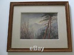 Antique Carl Oscar Borg Painting Mountain Top American Landscape Painting Old