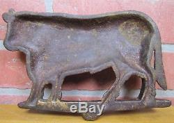 Antique Cast Iron COW Figural Butcher Trade Sign Farm Gate Topper Orig Old Paint
