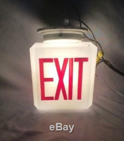 Antique Ceiling Exit Light Sign Milk Glass Deco Vintage Theater Old 504-18C