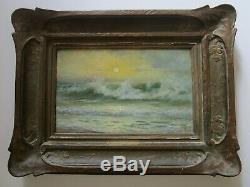 Antique Charles Albert Rogers Painting Early California Old Coastal Beach Sea