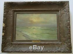 Antique Charles Albert Rogers Painting Early California Old Coastal Beach Sea