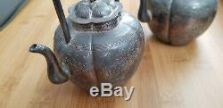 Antique Chinese Export Silver Tea Pot Set Signed Teapots Old Handmade