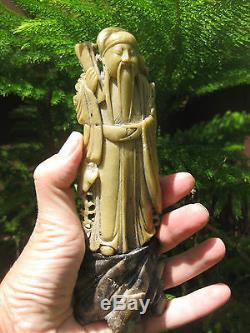 Antique Chinese carved soap stone figure of old philosopher, signed