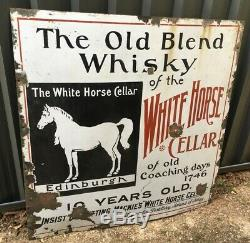 Antique Enamel White Horse Scotch Whisky Cellar Sign Over 100 Years Old