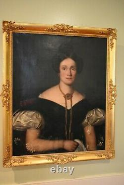 Antique European Old Master Style Oil Painting On Canvas Portrait Of A Woman