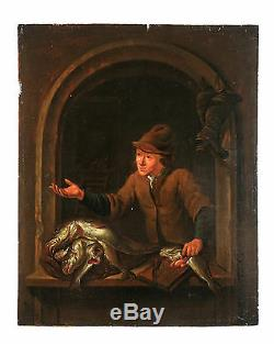 Antique Flemish Old Master oil on panel painting, attr. Louis de Moni(signed)