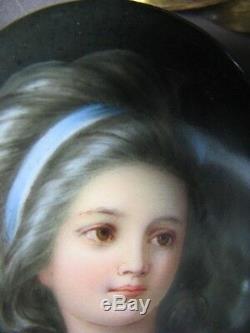 Antique German Painted Porcelain Old Portrait Plaque Signed Wagner KPM Style MHR