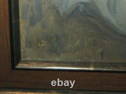 Antique Italian oil painting of an old sailor in red beret smoking pipe, sigmed
