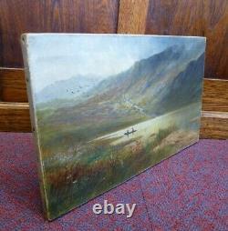 Antique Llyn y Gadair Welsh Art Landscape Oil painting Wales Ellis Snowdonia old