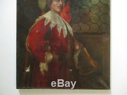 Antique Musketeer Oil Painting Portrait Signed 1930's Restoration Project Old