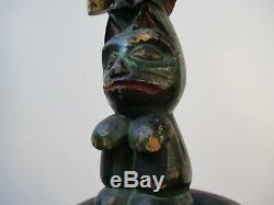 Antique Native American Indian Statue 12 Totem Old Carving Sculpture Painting