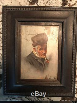 Antique Oil Painting On Board Of An Old Man Smoking Pipe. Signed. 1876