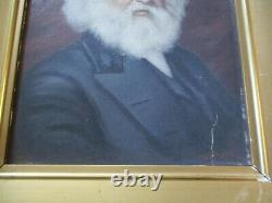 Antique Oil Painting Signed Portrait Of The Writer Walt Whitman Old