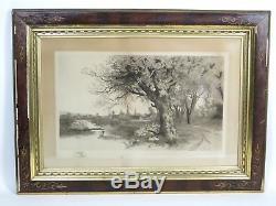 Antique Old 1890 Ernest C. Rost Framed Landscape Etching Pencil Signed