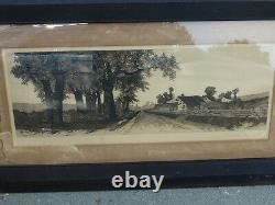 Antique Old 1890 Ernest Rost Landscape Connecticut Farm 45 1/2 x 25 1/2 frm