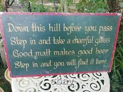 Antique Old Country Inn Sign Written Double Sided Poem Metal Pub Sign