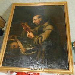 Antique Old Master Painting St. Francis Assisi 18th Century Italian Hermit Skull