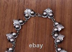 Antique Old Mexico Barrera 925 Sterling Silver 14.5 Necklace, Orb & Leaf