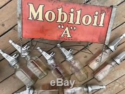 Antique Old Mobil Oil A Gargoyle Gas Sign Enameled Carrier Station Auto Mass