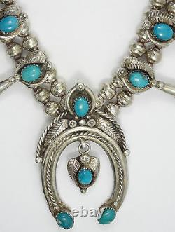 Antique Old Navajo Signed Gem Grade Persian Turquoise Squash Blossom Necklace