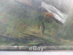 Antique Old Oil Painting Forest Trees Rural Landscape Art on Canvas Original