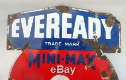 Antique Old Rare Eveready Trade Mark Radio Batteries Porcelain Enamel Sign Board