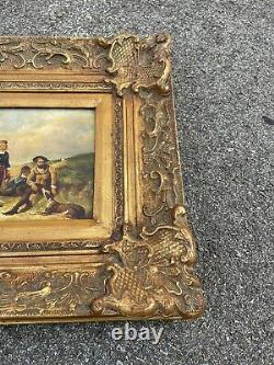 Antique Old Signed Oil Painting Explorers Dogs Parrots Old Label Art