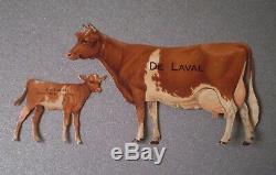 Antique Old Tin De Laval Advertising Guernsey Cow and Calf Excellent Condition