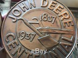 Antique Old Vintage John Deere Sign Centennial Dealer Sign Tractor 1837 1937