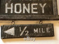 Antique Or Old Wooden Double Sided Wild Mountain Honey Trade Sign New England