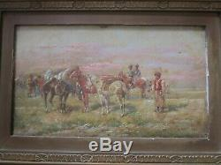 Antique Orientalist Painting Signed Russian Desert Soldiers Horses Men Old
