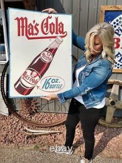 Antique Original Mas Cola Embossed Soda Pop Bottle Advertising Sign Vintage Old