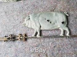 Antique Original Pig Weathervane FARM Bacon Hog Barn Art Sign Old Wind Vane