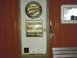 Antique Original Sign Tractors With Lugs Prohibited Farm Vintage Old Road Sign