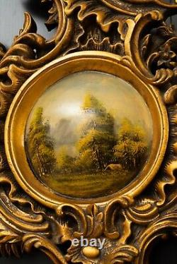 Antique Oval Convex Oil Painting Landscape Old Rococo Gilded Gilt Carved Frame