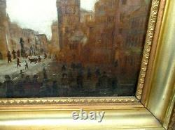Antique Painting, 1800s, cityscape, 15 x 18, old gold frame, signed on back