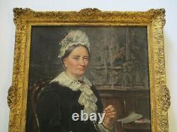 Antique Painting Estate Portrait Female Woman Ship Owners Wife 19th Century Old