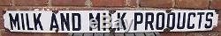 Antique Porcelain MILK AND MILK PRODUCTS Sign old dairy farm adv Preston Supply