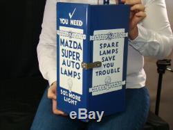 Antique Porcelain Mazda GE Lights Old Car Gas Station Sign Garage Advertising