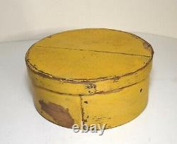 Antique Primitive 6.5 Wood Pantry Box Old Chrome Yellow Paint Signed Jc 19th C