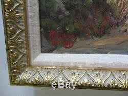 Antique Roland Mcnary Oil Painting Early Old California Landscape Coastal Beach
