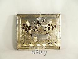 Antique Russian Icon 84 Silver Riza 1872 Moscow old hand painted signed on back